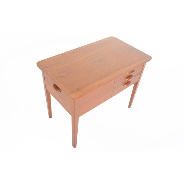 Danish Modern Teak Sewing Box With Basket For Sale - Image 4 of 10
