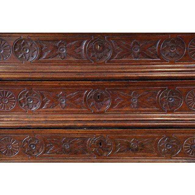 17th century chest of drawers (circa 1675-1700) hand-carved from French walnut in a provincial Louis XIII style (Mannerist...