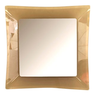 Italian Mid-Century Fontana Arte Frosted Amber Glass Wall Mirror For Sale