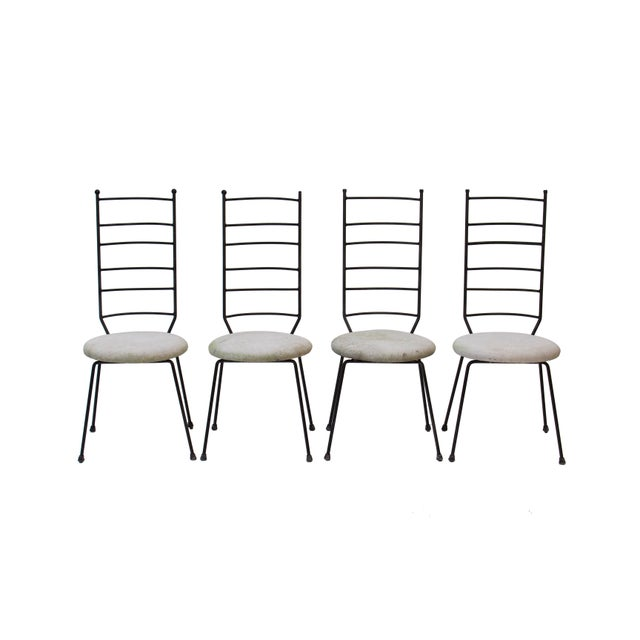 Boho Chic Iron Ladder Back Patio Dining Chairs, S/4 For Sale - Image 3 of 9