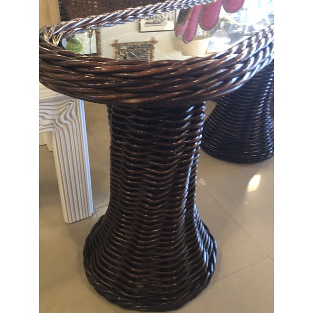 Vintage Double Pedestal Braided Wicker Console Table For Sale - Image 10 of 13