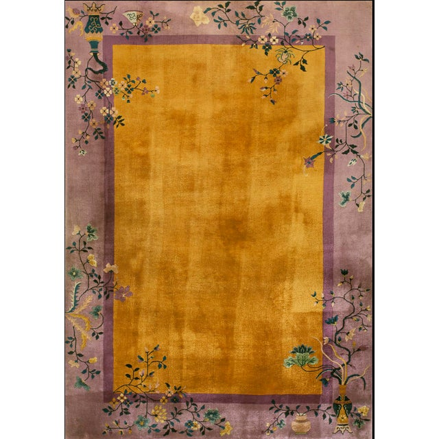 1920s Antique Chinese Art Deco Rug- 6′ × 8′8″ For Sale