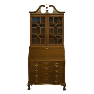 "Hendrick Furniture Co. Falconer, Ny Walnut Traditional Chippendale Style 38"" Secretary Desk W. Display Bookcase Hutch For Sale"