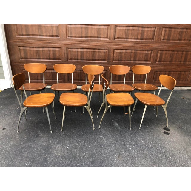 Metal 1950s Vintage Shelby Williams Gazelle Chairs - Set of 9 For Sale - Image 7 of 12