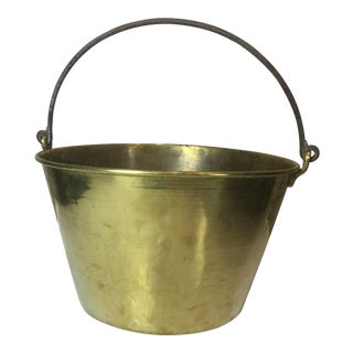 Antique French Large Brass Bucket For Sale