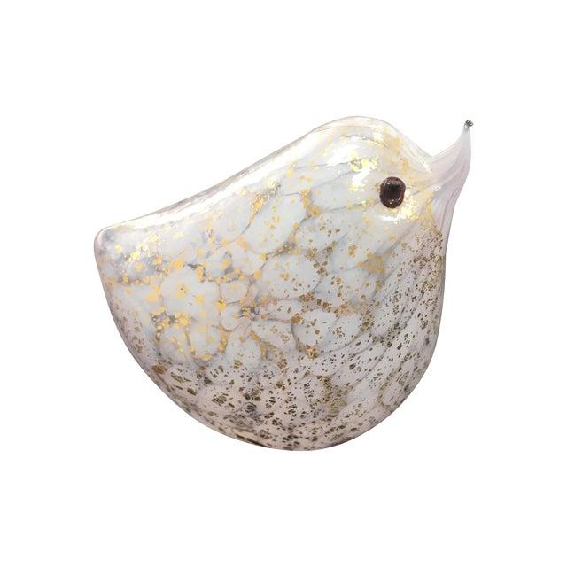 Handblown White Glass Bird with Gold Flecks For Sale