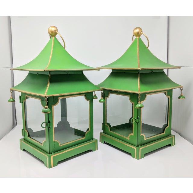 Asian Antiqued Two-Tier Green Tole Pagoda Lanterns - a Pair For Sale - Image 12 of 12