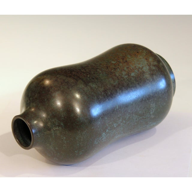 Vintage Bronze Old Japanese Patinated Verdigris Vase For Sale - Image 4 of 11
