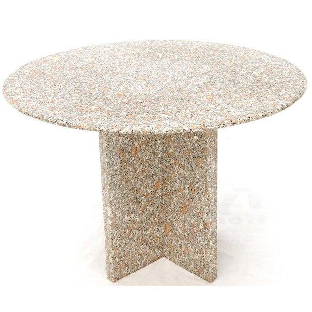 "Mid-Century Modern granite heavier marble alternative 45"" diameter dining table. Sitting on heavy granite X base."