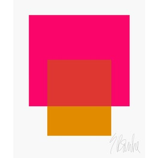 "The Interaction of Deep Pink and Gold Fine Art Print 25"" X 30"" by Liz Roache For Sale"