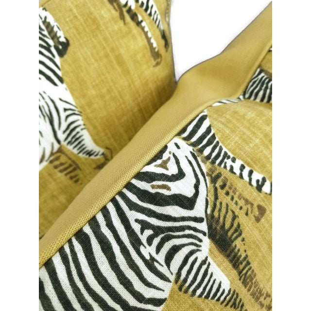 """2010s Home Accents Ronnie Gold Africana in Gold Cotton Zebra Print Pillow Covers - a Pair, 20"""" X 20"""" For Sale - Image 5 of 9"""