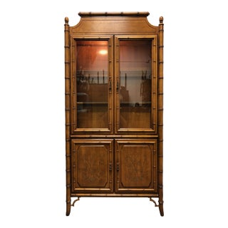 Asian Chinoiserie Style Faux Bamboo Curio China Display Cabinet by Dixie For Sale