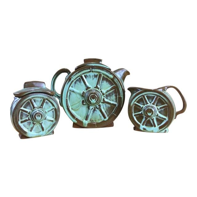 Frankoma Prairie Green Wagon Wheel Coffee Serving Set For Sale