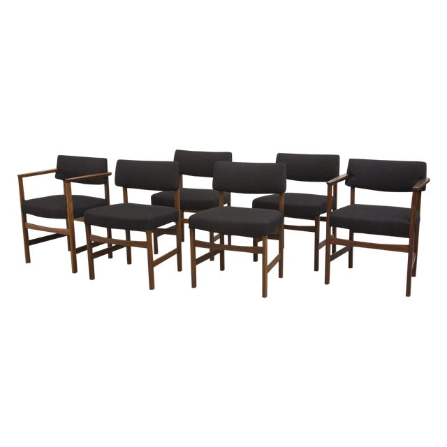Masculine Danish Mid-Century Dining Chairs - 6 - Image 1 of 11