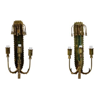 Italian Mid Century Brass and Glass Three Light Sconces For Sale