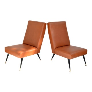 Pair of Marco Zanuso Leather & Brass Slipper Chairs, Lounge Chairs Italy 1955 For Sale