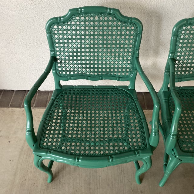Vintage Green Lacquered Chairs - a Pair For Sale - Image 4 of 11