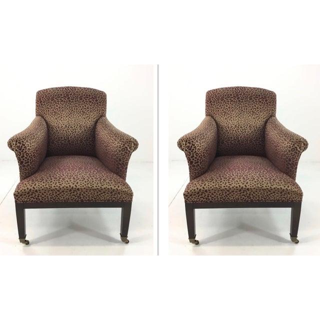 Modern Leopard Print Lounge Chairs Pair Chairish