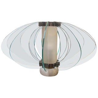 Space Age Italian Marble Base Art Glass Table Lamp, Circa 1960 For Sale