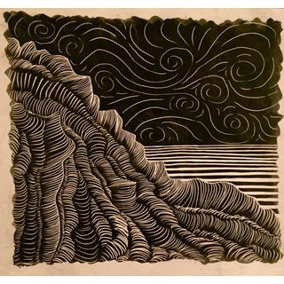 Seaside Cliff & Starry Night Scratchboard Art For Sale