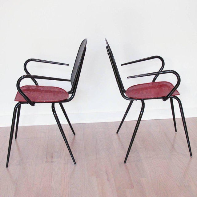 Contemporary Manner of Mathieu Mategot Black and Red Perforated Metal Armchairs For Sale - Image 3 of 11