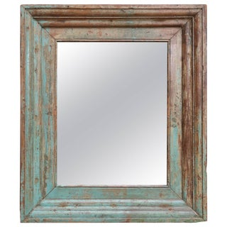 1840s Colonial Home Heavy Teak Wood Window Frame Wall Mirror For Sale