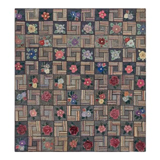 """Antique American Hooked Rug 6'3"""" X 6'9"""" For Sale"""
