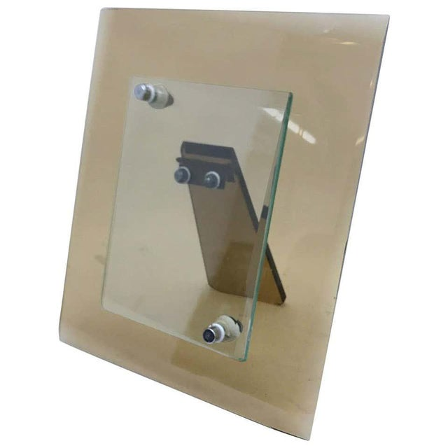 1970s Italian Vintage Cristal Art Heavy Glass Picture Frame For Sale - Image 10 of 10