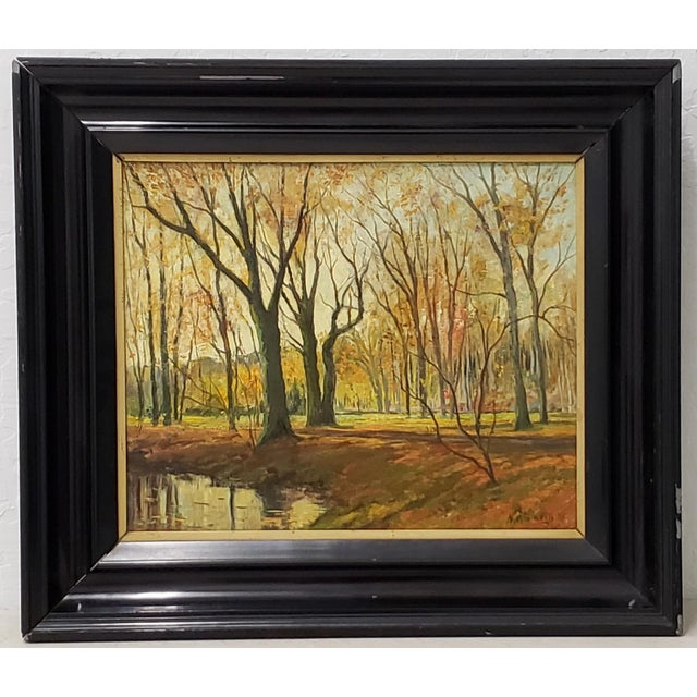 Late 19th Century Lumious Forest Landscape Oil Painting by Hm Savry For Sale - Image 10 of 10