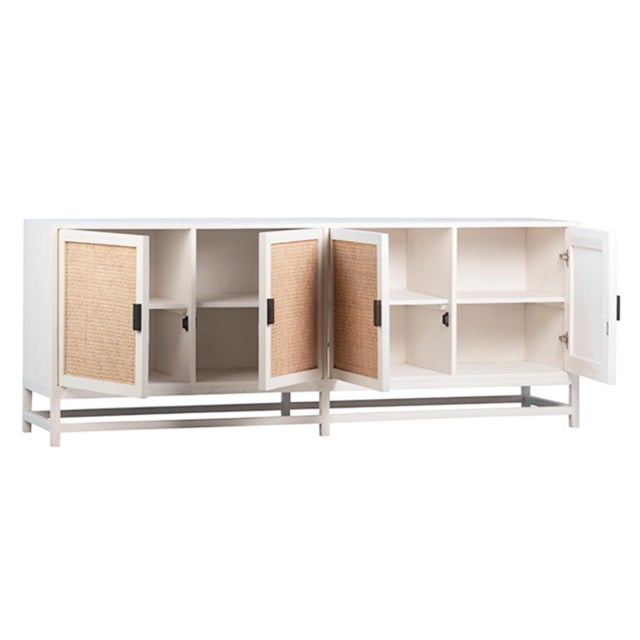 Contemporary Modern White Cane Sideboard For Sale - Image 3 of 5