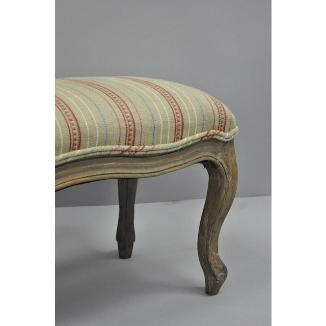 French Country Louis XV Style Long Wooden Upholstered Bench For Sale - Image 4 of 10