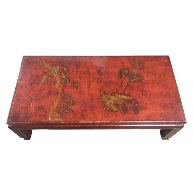 Mid-Century Red Lacquer Chinese Style Coffee Table - Image 1 of 7