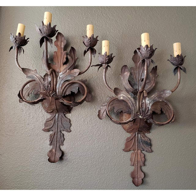 Vintage 1960s French Large Floral Sconces - a Pair For Sale - Image 13 of 13