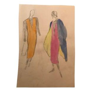 1980s Fashion Design Watercolor For Sale