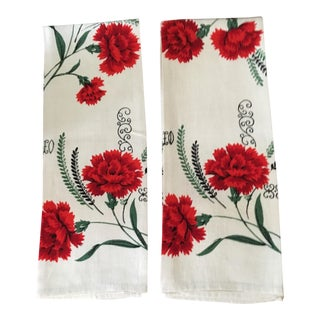Vintage Red Floral Hand Towels, a Pair