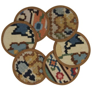 Rug & Relic Kilim Coasters Set of 6 - Menzelet For Sale