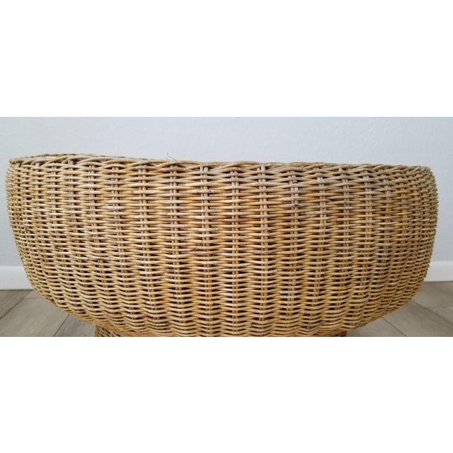 1960's Postmodern Eero Aarino Attributed Wicker Chairs and Coffee Table - Set of 3. For Sale - Image 9 of 13