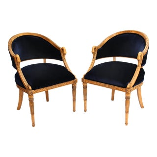 Meyer Gunther Martini French Empire Chairs Rope & Swan Details Newly Upholstered - Pair For Sale