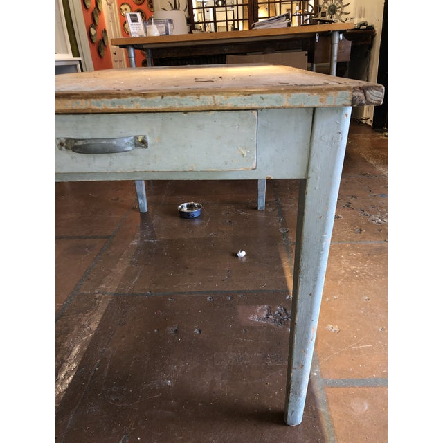 Antique Painted Wood Continental Table With Patina and Two Drawers For Sale - Image 9 of 13