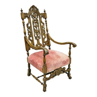 Early 20th Century Italian Renaissance Carved Walnut Tall High Back Throne Arm Chair For Sale