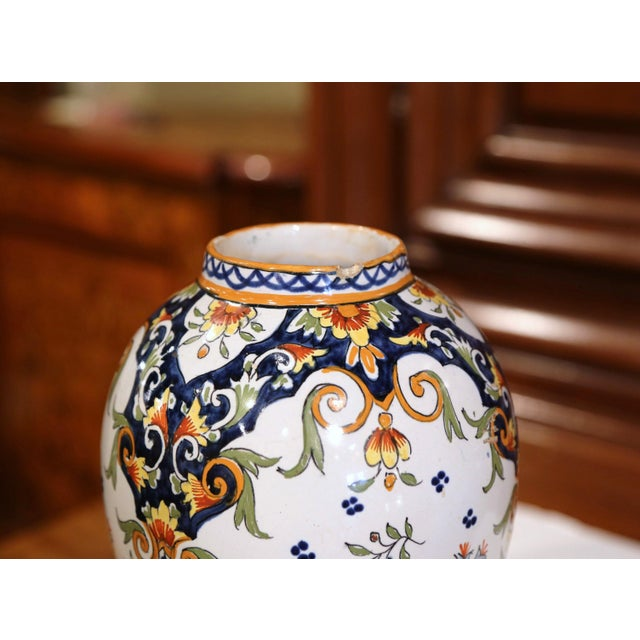 19th Century French Hand-Painted Ceramic Potiche and Lid From Rouen For Sale In Dallas - Image 6 of 8