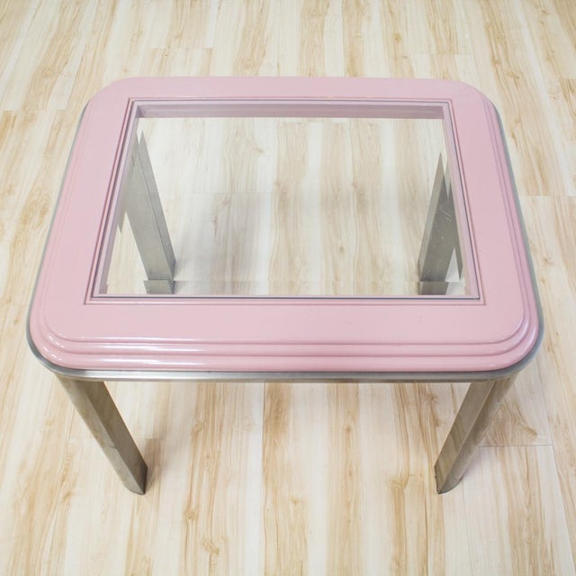 DIA - Design Institute America Vintage DIA Memphis Style Pink & Chrome Side Table For Sale - Image 4 of 8