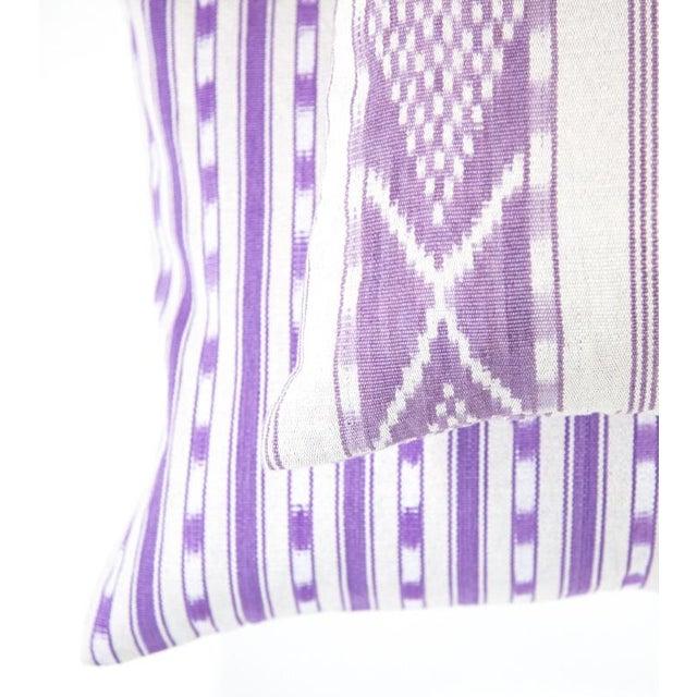 Lilac & White Ikat Guatemalan Pillow - Image 3 of 9