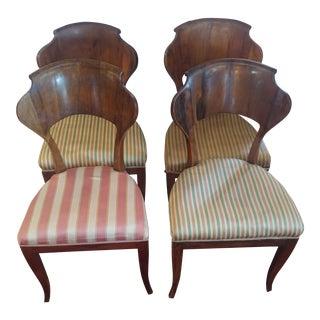 Biedermeier Fruitwood Stripe Upholstered Dining Chairs - Set of 4