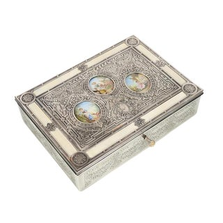19th Century Silver Repousse Miniature Painting Inset Box For Sale