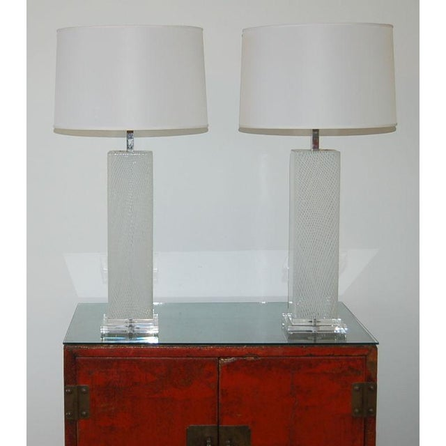 Dino Martens Dino Martens Vintage Murano Glass Table Lamps Square White For Sale - Image 4 of 10