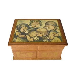 Vintage Laurel Japan Movement Wooden Musical Jewelry Trinket Box For Sale