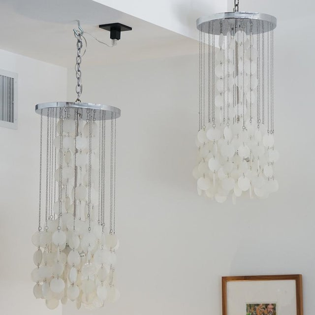 Metal Mazzega Murano Cascade White Glass Disk Chandelier For Sale - Image 7 of 9