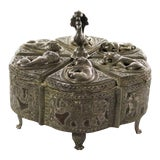 Image of Antique India Pierced Silver Overlay Spice Box With Six Compartments For Sale