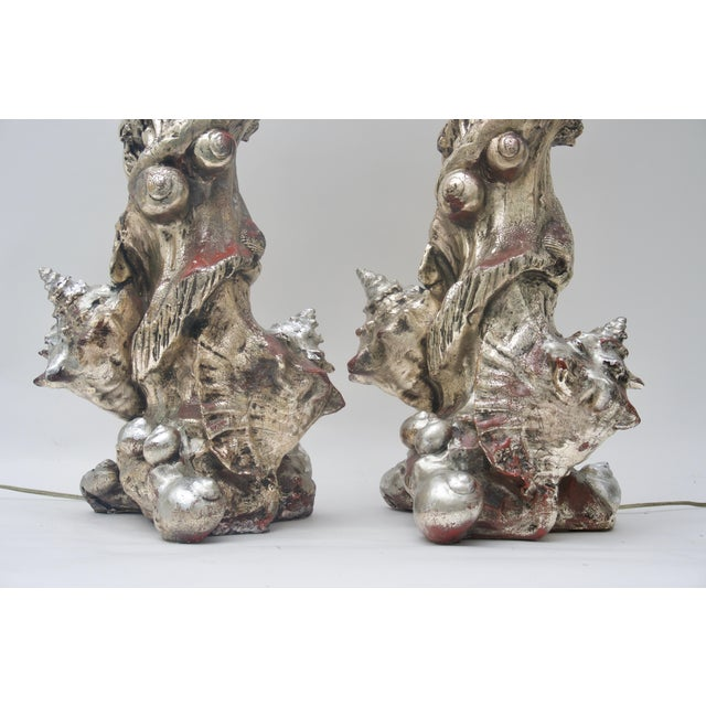 Metal 1970s Seashell Table Lamps Silvered Molded Resin by Sirmos - a Pair For Sale - Image 7 of 8